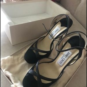 Jimmy Choo Black Suede strappy shoes -Size 37
